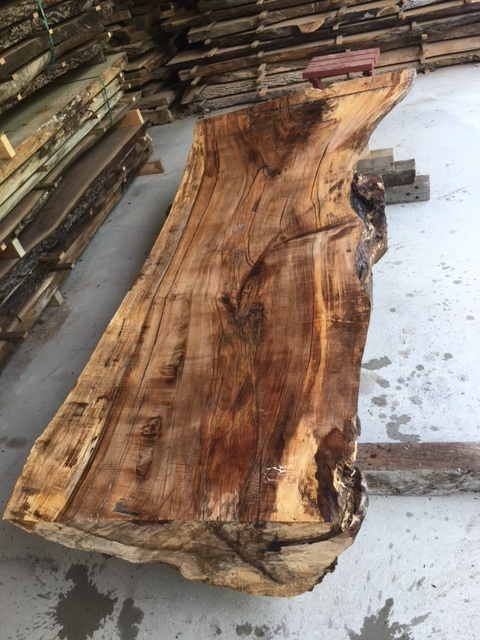 Half log maple table slab lumber live edge slab maple for Log slab siding