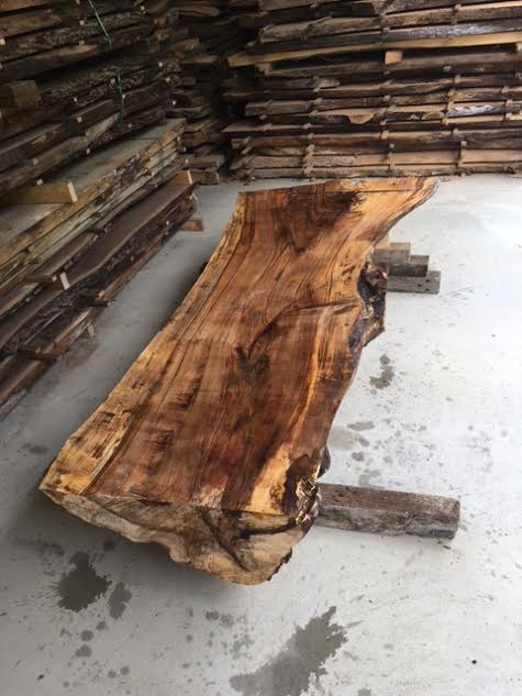 Half Log Maple Table Slab Lumber Live Edge Slab Maple