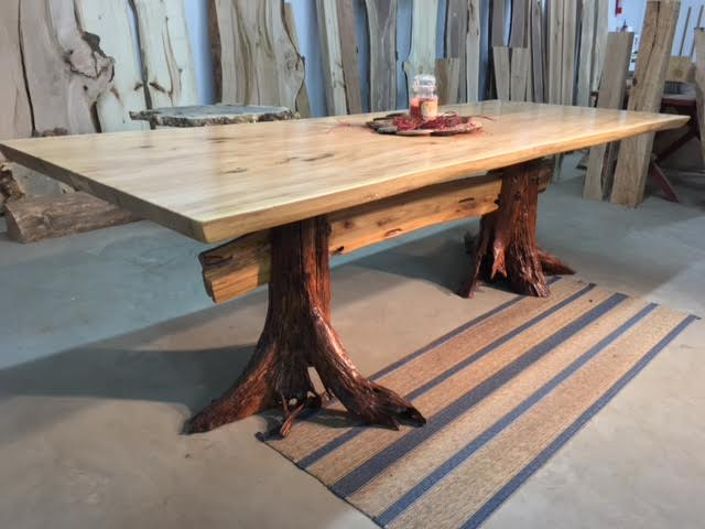 Attirant LIVE EDGE GREY ELM DINING TABLE! Locust Stump Base Table! Beautiful! V