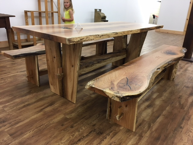 LIVE EDGE SOLID OAK DINING TABLE WITH MATCHING BENCHES! Matching Benches!  Beautiful! Y