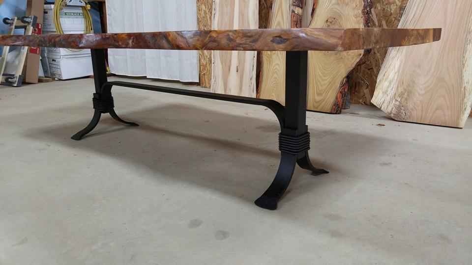 live edge sycamore coffee table. beautiful salvaged live edge