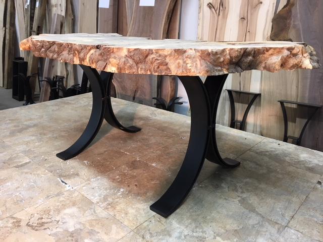 16.75 INCH TALL STEEL COFFEE TABLE BASE SET! Flat Black Half Moon Steel  Coffee Table