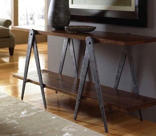 Hand Forged Steel Sawhorse Table Legs Sofa Table Base
