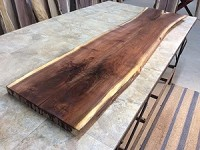 "76.5"" LONG X 18"" TO 15.5"" WIDE SIDE BY SIDE X 1.75"" THICK! WALNUT BOOK-MATCHED DINING TABLE SLABS! A-133"