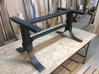 28 INCH TALL STEEL DINING TABLE BASE! Dining Table Legs! Flat Black! 28 Inch Tall X 60 Inch Length! B-143