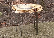 LIVE EDGE FIGURED BUCKEYE BURL END TABLE! Buckeye Burl End Table On Hairpin Legs! Q-151