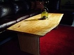 "64"" X 32"" X 19"" BOOK-MATCHED LIVE EDGE CURLY CHERRY COFFEE TABLE! BEAUTIFUL NATURAL EDGE SOLID HARDWOOD CHERRY TABLE! S-71"