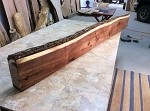 "89.5"" X 10.75"" TO 9.5"" X 4 INCH THICK ""MANTEL WALNUT"" GREAT MANTLE SLAB! LIVE EDGE WALNUT LUMBER! THICK WOOD! LIVE EDGE BOARD! H-130"
