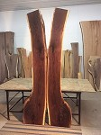"102"" LONG X 44"" TO 27"" X 2.25"" THICK! WALNUT Book-Matched X-Wing Dining Table Slabs! H-133"