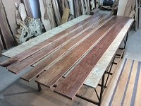 "110"" X 4.25"" TO 6.75"" X 3/4"" ""5 PACK WALNUT LUMBER"" Select and Better Lumber - Heartwood Walnut! 5 Boards! N-144"