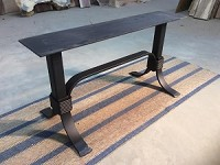 17 INCH TALL STEEL COFFEE TABLE BASE! Flat Black Metal Table Base! Coffee Table Legs! 17 Inch Tall X 36 Inch Length! O-138