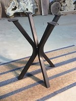 21.75 INCH TALL STEEL END TABLE BASE! FLAT BLACK METAL TABLE BASE! ACCENT TABLE LEGS! 17.5 INCH WIDE X 17.5 INCH WIDE! P-138
