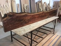 "116"" X 16.5"" TO 13"" X 2  5/8 INCH THICK ""MANTEL WALNUT"" GREAT MANTLE SLAB! LIVE EDGE WALNUT LUMBER! THICK WOOD! LIVE EDGE BOARD! Q-132"