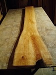 "94"" X 17.5"" TO 10.75"" X 2 1/2 INCH THICK RIBBED CURL CHERRY LUMBER"" HEAVY DUTY FREE FORM CHERRY LUMBER! 1 THICK SLAB! S-93"