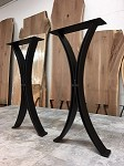 28 INCH TALL STEEL SOFA TABLE BASE SET! Flat Black Half Moon Steel Sofa Table Base! Sofa Table Legs! 28 Inches Tall X 13 Inches Wide! C-204