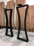 28 INCH TALL STEEL SOFA TABLE BASE SET! Flat Black Hour Glass Steel Sofa Table Base! Sofa Table Legs! 28 Inches Tall X 10 Inches Wide! N-204