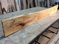 "70.5"" X 9"" TO 7.5"" X 1  7/16"" THICK SPALTED HARD MAPLE SHELF"" Figured Live Edge Sugar Maple Lumber! 1 Slab! M-149"