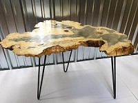 LIVE EDGE FIGURED BUCKEYE BURL END TABLE! Buckeye Burl End Table On Hairpin Legs! J-182