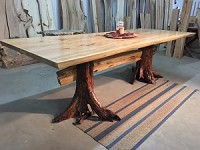 LIVE EDGE GREY ELM DINING TABLE! Locust Stump Base Table! Beautiful! V-163