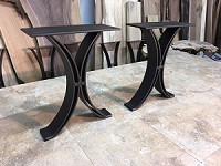 15.5 INCH TALL STEEL BENCH BASE SET! Flat Black Half Moon Steel Bench Base! Bench Legs! 15.5 Inch Tall X 12 Inches Wide! B-197