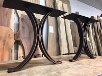 28 INCH TALL STEEL DINING TABLE BASE SET! Flat Black Half Moon Metal Table Base! Dining Table Legs! 28 Inch Tall! V-194