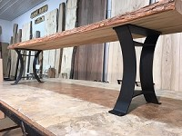 16 INCH TALL STEEL BENCH BASE SET! Flat Black Golden Gate Steel Bench Base! Bench Legs! 16 Inch Tall X 12 Inches Wide! M-184