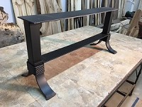 19 INCH TALL STEEL COFFEE TABLE BASE WITH SHELF! Flat Black Metal Table Base! Coffee Table Base! 19 Inch Tall X 40 Inch Length X 14 Inch Wide! U-157