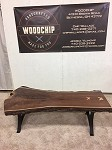 LIVE EDGE SOLID WALNUT COFFEE TABLE! Solid Steel Golden Gate Base! Beautiful Curly Maple Butterfly Ties! Y-188
