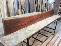 "81.5"" X 13"" TO 9.5"" X 2.5 INCH THICK ""MANTEL WALNUT"" GREAT MANTLE SLAB! LIVE EDGE WALNUT LUMBER! THICK WOOD! LIVE EDGE BOARD! W-132"