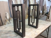 28 INCH TALL STEEL TABLE LEG SET (1750 SERIES)! Sofa Or Accent Table Legs! Flat Black! 28 Inch Tall X 13 Inch Wide! A-143