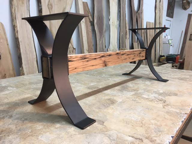 Enjoyable 16 Inch Tall Steel Timber Beam Bench Base Set Part U 162 Andrewgaddart Wooden Chair Designs For Living Room Andrewgaddartcom