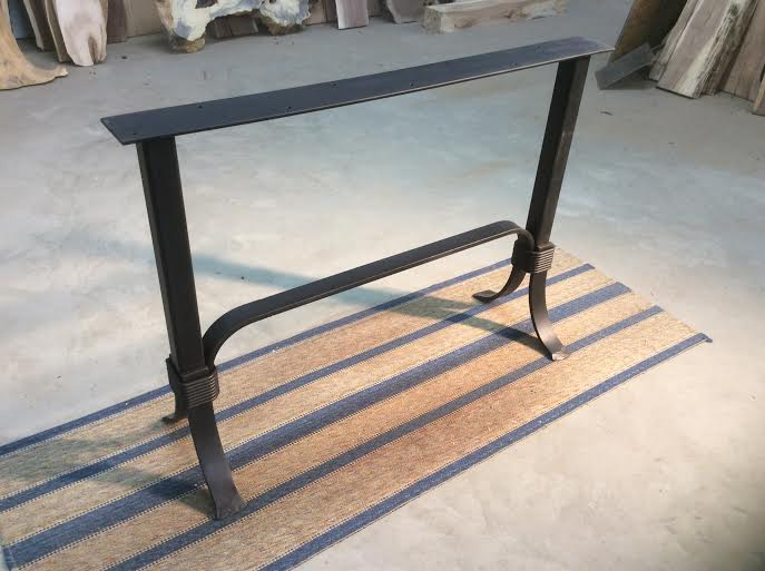 28 Inch Tall Steel Sofa Accent Console Table Base Flat Black Metal