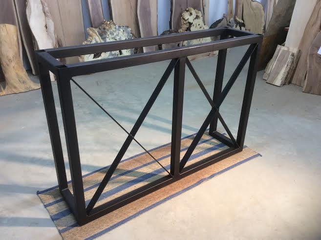 40 Inch Tall X 60 Long Steel Bar Base Flat Black Metal