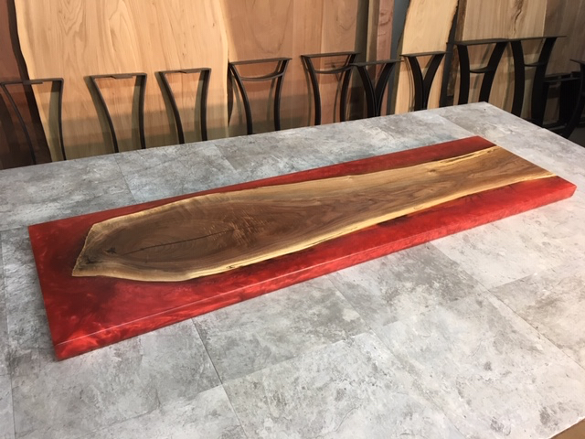Live Edge walnut sofa table. Red Epoxy Resin walnut. Live edge salvaged  walnut for sale at Ohio Woodlands. Finished epoxy resin walnut.