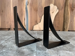 12 INCH X 10 INCH LONG ARCHED STEEL MANTEL/SHELF BRACKETS! Part #D-225