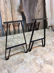 21 INCH TALL STEEL END TABLE LEG SET! Raw Steel - Not Black As Shown In Images! Part #O-139