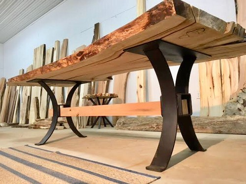 28 INCH TALL STEEL TIMBER BEAM DINING TABLE BASE! Part #U-156