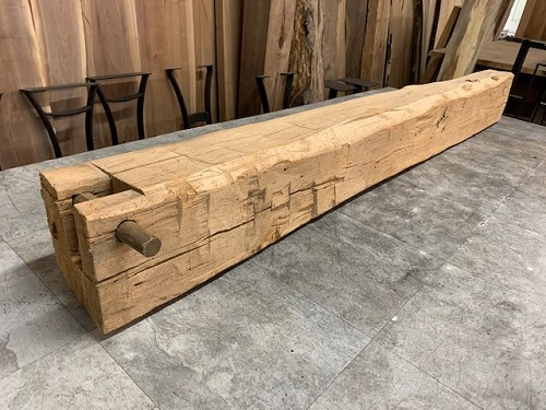 77.5' X 7.75' X 7.25' RECLAIMED 1800s BEECH MANTEL BEAM! PART #H-215