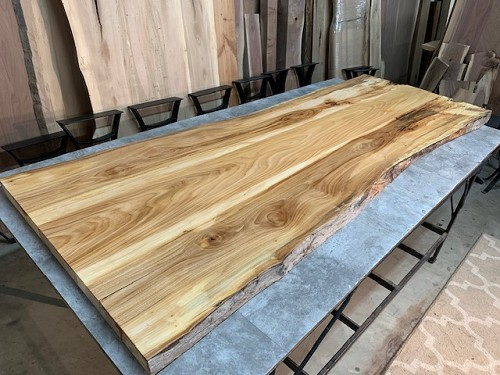 101' X 37' TO 32' X 1  7/8' BEAUTIFUL MATCHED RUSTIC ELM DINING TABLE SLAB! Part #L-210